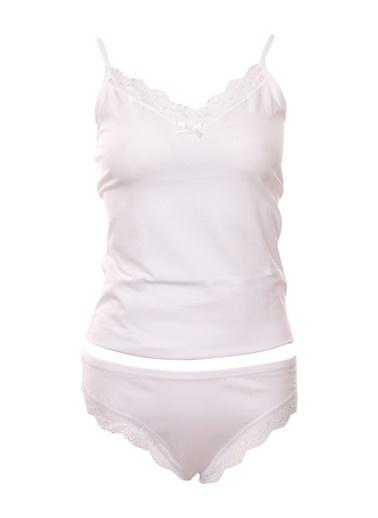 Piaff Kadın Pamuklu İnce Askılı Dantelli Atlet Şort Takım Beyaz